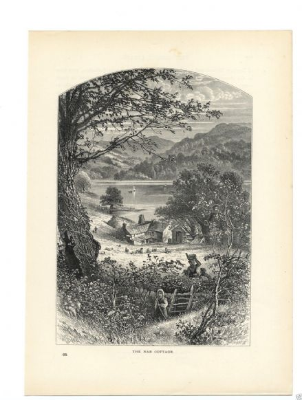 1880 Print CUMBRIA Nab Cottage Rydal Water Ambleside PRINT Lake District Wesmorland